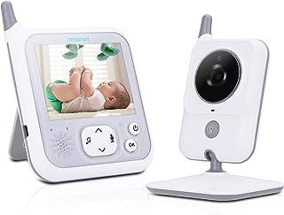 Vigilabebés Inalámbrico Bebé Monitor Pantalla 3.2AWANFI Cámara de Vigilancia para NiñosVOXActivación por VozComunicación BidireccionalVisión Nocturna8 Canciones de Cuna y Sensor de Temperatura