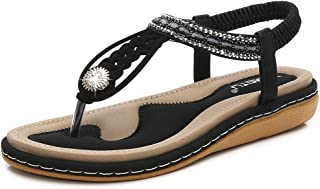 HAPPYSTORE Women Sandals Summer Crystal Cross Strap Woven Ankle Toepost Flat African Roman Shoes