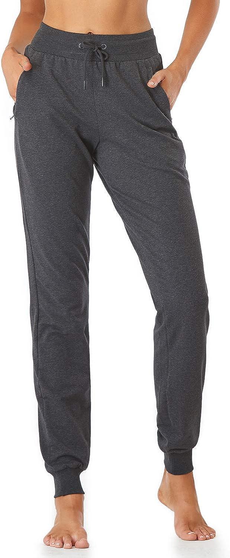 Sevego Damen 81cm//86cm Schrittl/änge Baumwolle Weich Jogger mit Rei/ßverschlusstaschen Kordelzug Workout Lounge Jogginghose
