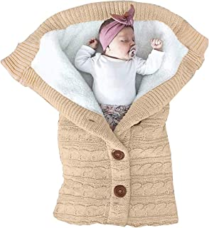 Collager Unisex Babies Stroller Wrap Knit Sweater Blanket Newborn Baby Soft Thick Fleece Swaddle Blankets for Girls Boys