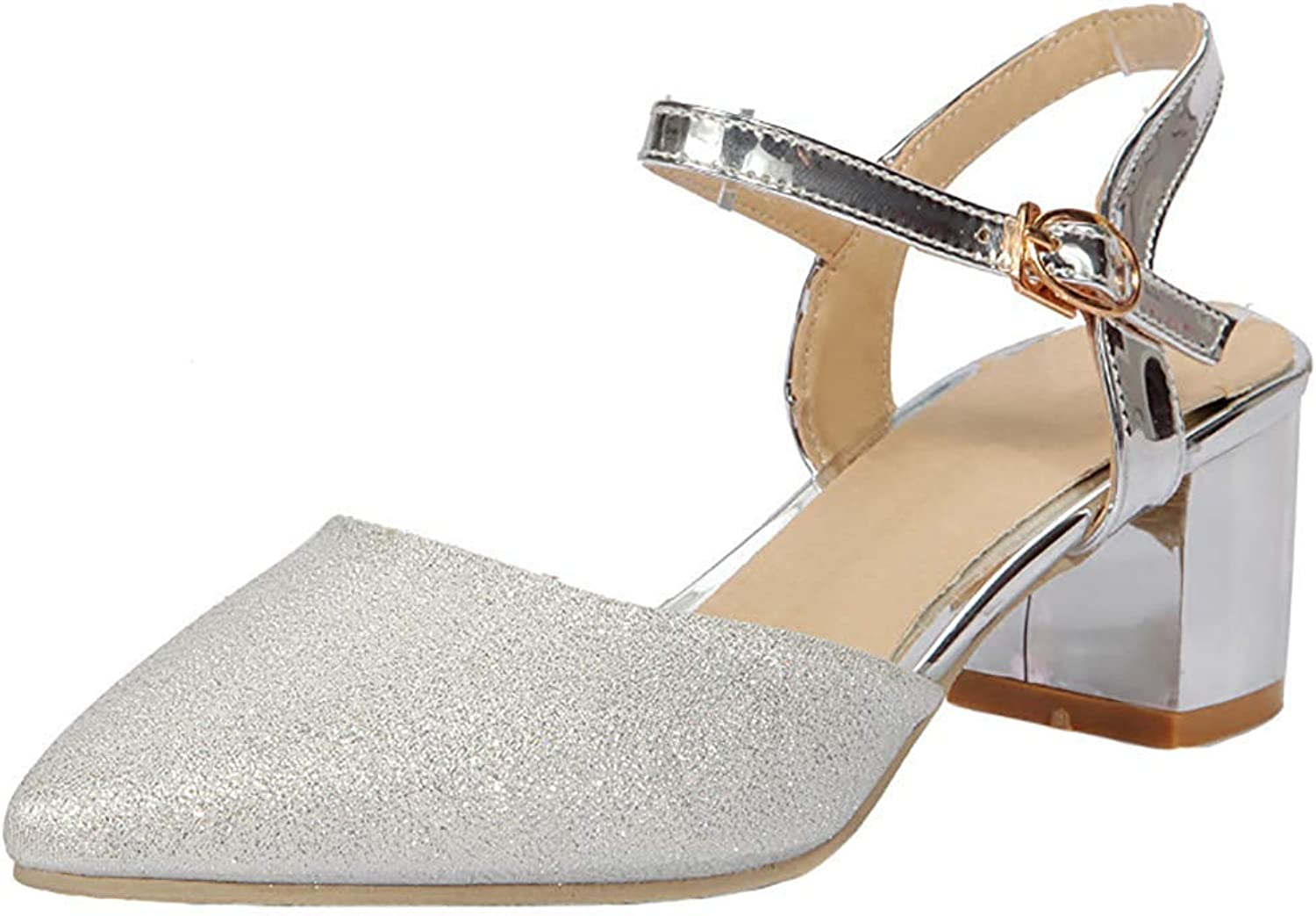 Gcanwea Women's Elegant Sequins Glitter Buckle Ankle Strap Pointed Toe Mid Chunky Heel Pumps shoes Fashion Dress Rubber Sole Classic Simple Girls Breathable Silver 7 M US Pumps shoes