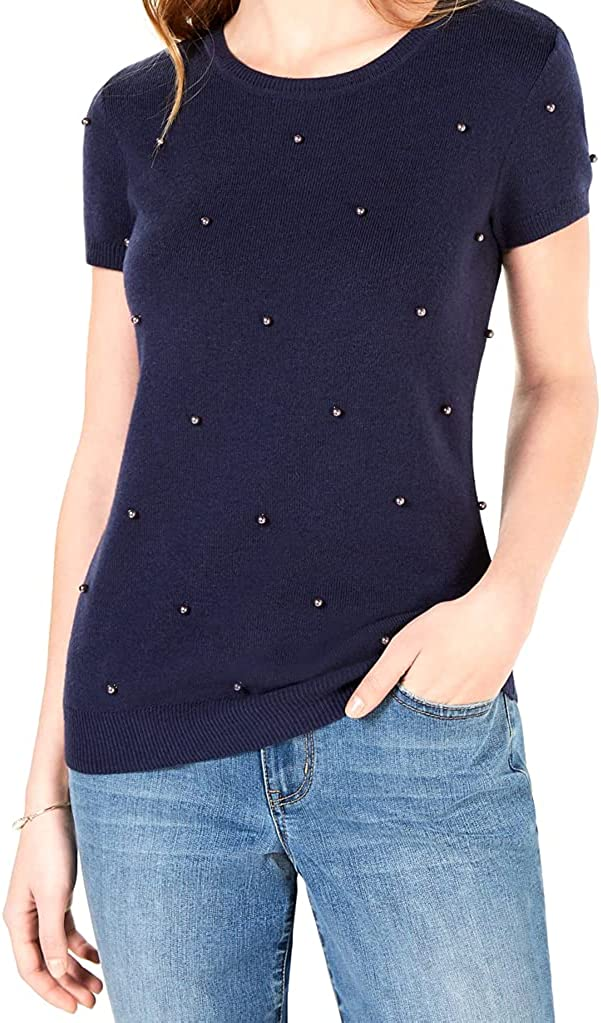 Maison Jules Womens Pearl-Detail Knit Pullover Top Navy XS