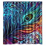 "Generic Custom Colorful Peacock Design Waterproof Polyester Fabric Bathroom Shower Curtain 66"" x 72"""