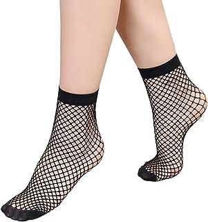 Wicemoon 2 Pares de Calcetines de Verano para Mujer, Ultra Finos, Calcetines de Mujer Tobillo elásticos de Encaje Largo Transparente de Seda