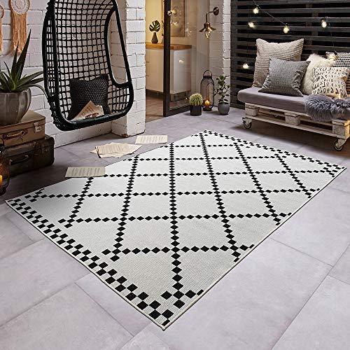 Teppich Boss Flachgewebe Wendeteppich Pixel für In- & Outdoor (100% Polypropylen, UV- und Witterungsbeständig, Fußbodenheizung geeignet), Größe:160x230 cm, Farbe:schwarz/Creme