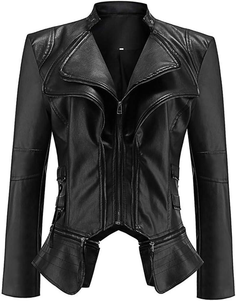 XZYP PU Leather Zipper Stitching Jacket, Short Leather Coat,PU Moto Biker Outwear Fitted Slim Coat,Black,L