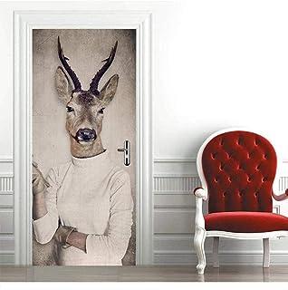 Sticker Porte 3D Antelope Porte Autocollants Auto-Adhésif Chambre Mur Pvc Autocollants Amovible Étanche Décoration De La M...