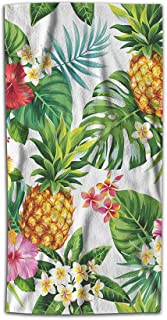 Fxaezolz Leaf Hand Towel Hawaiian Pineapples Tropical Palm Leaves Flowers in Forest Jungle Towel Soft Microfiber Face Hand Towels Kitchen Bathroom for Women Men 15x30 Inch Green Yellow Pink