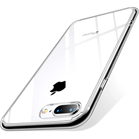 【Humixx】iPhone8 Plus ケース iPhone7Plus ケース [ 薄型 軽量 ] [ ワイヤレス充電 対応 ] [ レンズ保護 耐衝撃 ] [ ガラスフィルム 付き ] 透明(iPhone 7Plus, iPhone 8Plus, クリア)[Skin Series]