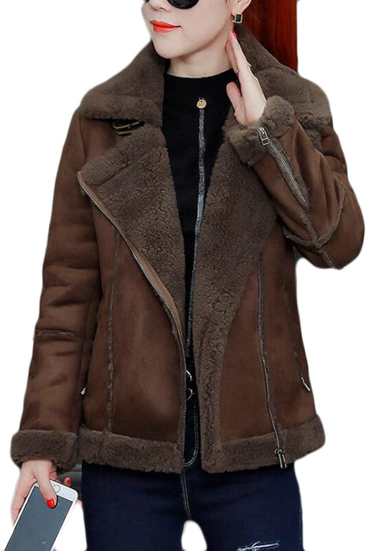 BLTRWomen Outwear Faux Suede Sherpa Lined Trench Coats Jacket