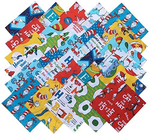 Robert Kaufman Original DR. Seuss Favorites Precut 6.5-inch Cotton Fabric Quilting Squares Charm Pack Assortment