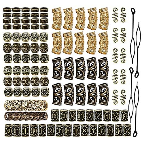 Cuentas Vikingas Cuentas,110 piezas Nórdico Cuentas de Runas,Cuentas de barba vikinga,Barba Nórdico Viking Runas Cuentas,para Colgante Collar Brazalete Trenzado de Pelo