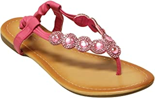 Pensee-3K Kids Beads Rhinestone Slingback Thong Sandals