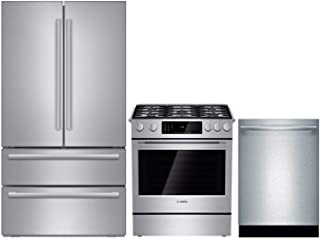 "Bosch 3 Piece Kitchen Appliance Package with B21CL81SNS 36"" French Door Refrigerator, HGI8054UC 30"" Slide-in Gas Range and SHX865YN5N 24"" Built In Dishwasher in Stainless Steel"