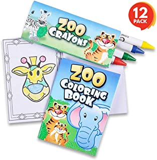 ArtCreativity Zoo Animal Mini Coloring Book Kit - 12 Sets - Each Set Includes 1 Small Color Book and 4 Crayons - Zoo Theme...