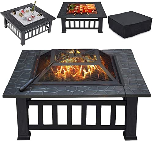 Yaheetech Multifunctional Fire Pit Table 32in Square Metal Firepit Stove Backyard Patio Garden Fireplace for Camping,...