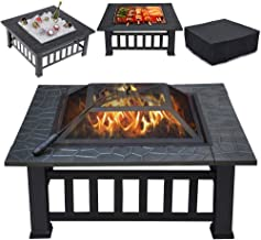 Yaheetech Multifunctional Fire Pit Table 32in Square Metal Firepit Stove Backyard Patio Garden Fireplace for Camping, Outd...