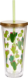 C.R. Gibson QITS-20831 Cactus Insulated Tumbler w/straw, 20 oz./4