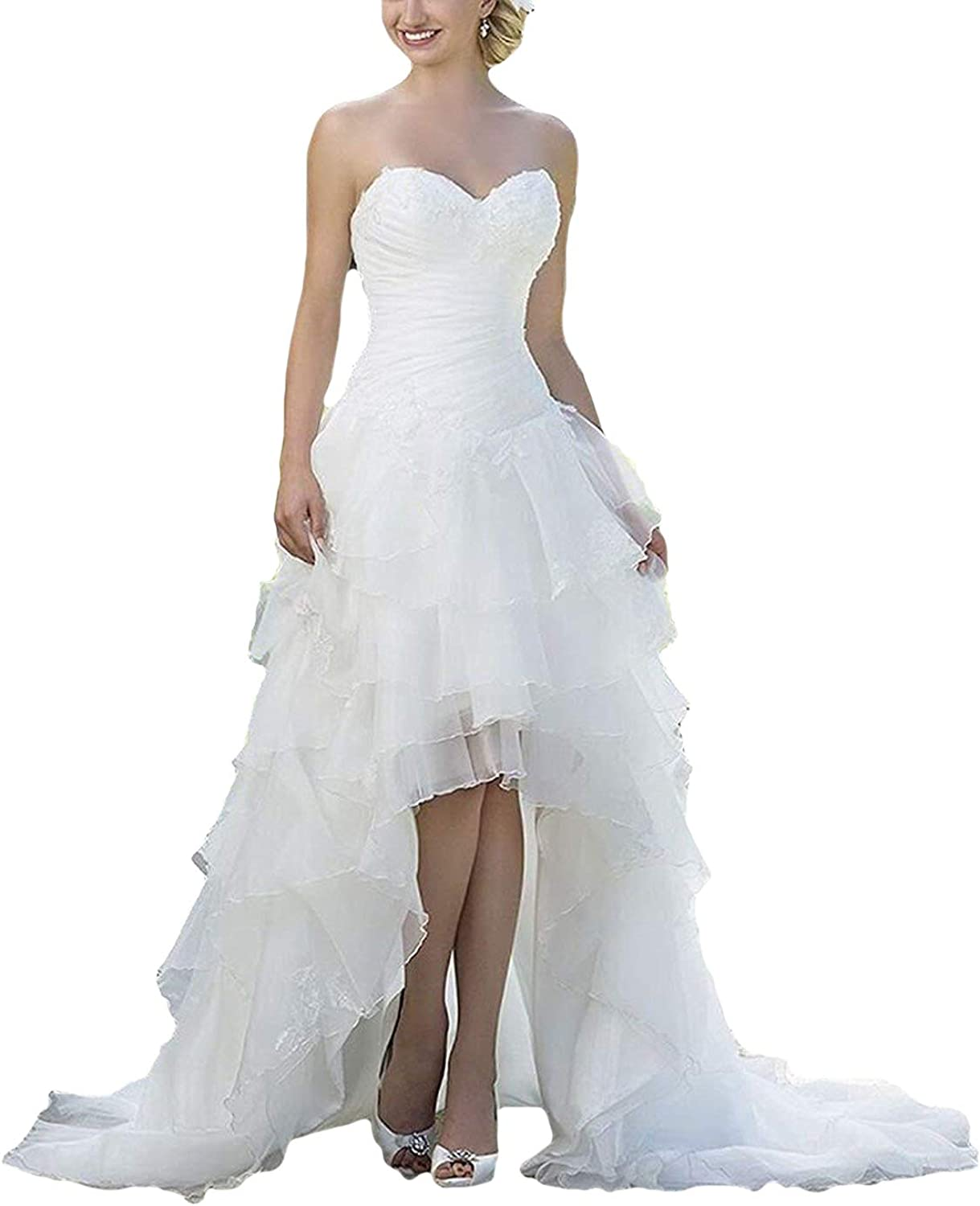 Dreagel High Low Lace Country Wedding Dresses VNeck Sleeveless Bridal Gowns