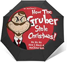 Die Hard Dr Seuss Gruber Grinch Windproof Compact Auto Open And Close Folding Umbrella,Automatic Foldable Travel Parasol Umbrella