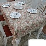 QQT European-style Gartentisch Tischdecke,Tuch Bedecken Das Wohnzimmer Couchtisch Tuch,Längliche Tischdecke-E 150*200cm(59x79inch)