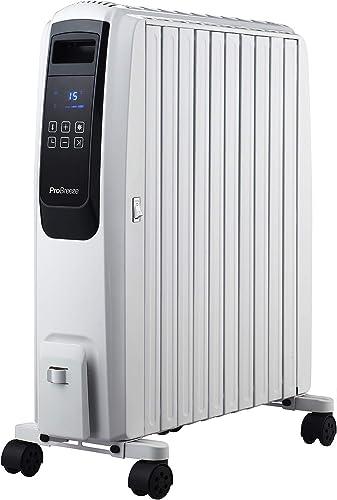 Pro Breeze Radiateur Numérique à Bain d'Huile 2500W, Mobile, Chauffage électrique 10 Colonnes, Minuteur Intégré, 4 Pu...
