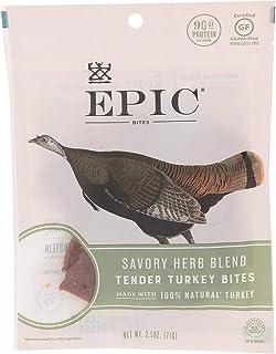 Epic Jerky Bites, Turkey Herb Blend - Pack of 8 2.5 Ounces)