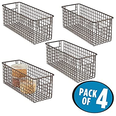 mDesign Household Wire Storage Organizer Bin Basket with Built-In Handles for Kitchen Cabinets, Pantry, Closets, Bedrooms, Bathrooms - 16  x 6  x 6 , Pack of 4, Bronze
