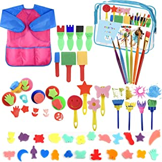 YZNlife 52 pcs Sponge Paint Brushes Kits Painting Brushes Tool Kit for Kids Early DIY Learning Include Foam Brushes,Patter...