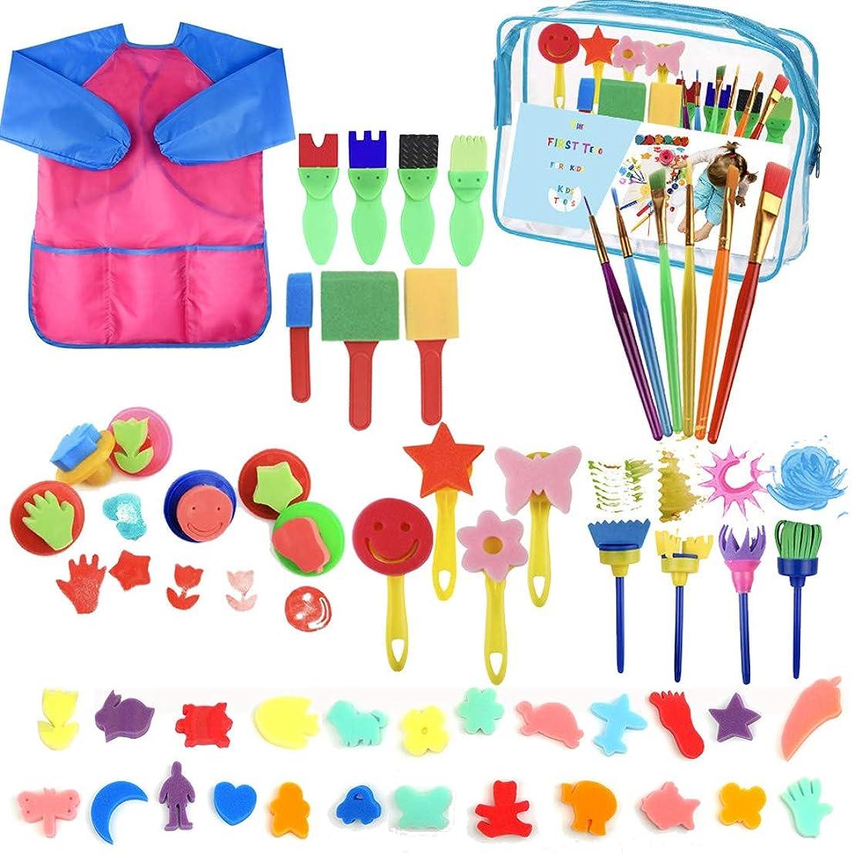 YZNlife 52 pcs Sponge Paint Brushes Kits Painting Brushes Tool Kit for Kids Early DIY Learning Include Foam Brushes,Pattern Brushes Set,Waterproof Apron, etc.