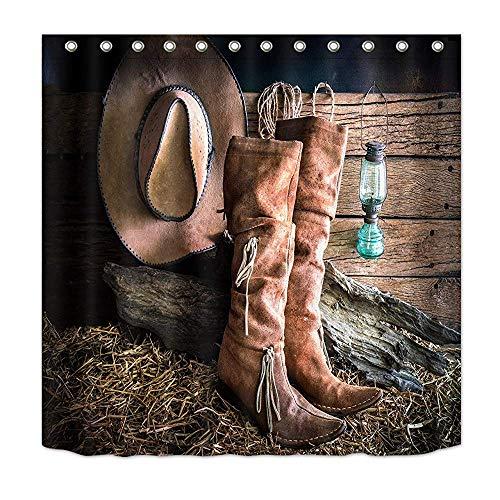 prz0vprz0v Surreal douchegordijn, westers douchegordijn, traditionele rodeo cowboylaarzen, hoed op stro, retrostijl, cowboydouchegordijnen, voor badkamer, waterdichte stof 71 x 79 inch met haken