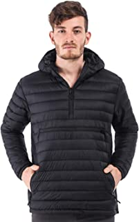 Men's Packable Hooded Pullover Insulated Jacket Puffy Padded Outdoor Jacket, 3 Pockets, Half Zip, Water Resistant, Black