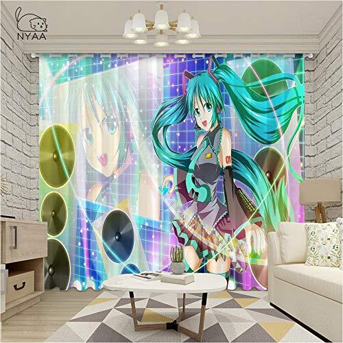 asfrata265 Vorhang Anime Hatsune Miku 3D-Druck Vorhänge Kinder Schlafzimmer Fenster Öse Verdunkelungsvorhang Super Weiche Schwarze Seide Schattierungsvorhänge 230 (H) X140Cm (B) X2