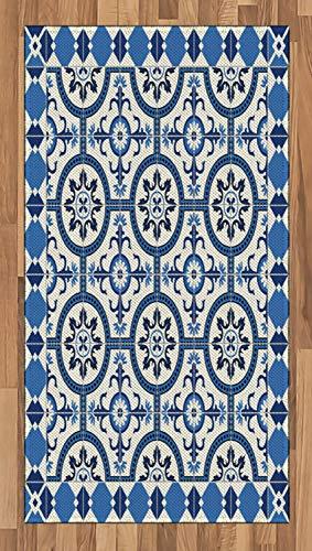 ABAKUHAUS Retro Alfombra de Área, Mosaico de arabescos marroquíes, Ideal para Sala de Estar o Comedor Resistente a Manchas, 80 x 150 cm, Gris Azul