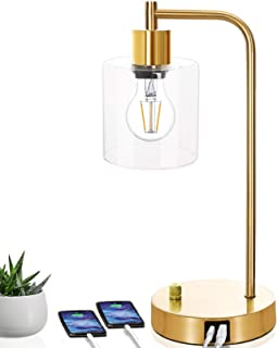 Gold Industrial Table Lamp with 2 USB Ports, Elizabeth Vintage Nightstand Lamp, Dimmable Bedside Reading Lamp, Brass Metal...