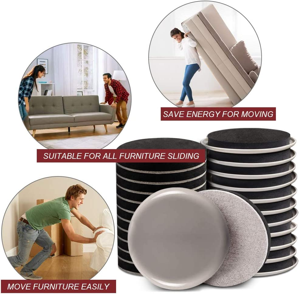 """Protect All Carpet Surfaces 3 1//2/"""" Furniture Sliders for Carpet Reusable Furniture Moving Pads Heavy Duty Furniture Movers Kit Move Heavy Furniture Easy and Quickly Yelanon Furniture Sliders 24pcs"""