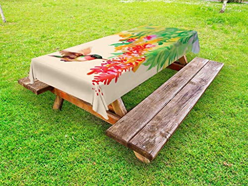 Ambesonne Hummingbird Outdoor Tablecloth, Image of Colibri Bird and Flowers Exotic Tree Bloom in Watercolor Effect, Decorative Washable Picnic Table Cloth, 58' X 84', Beige Green