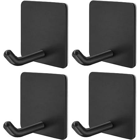 3x Self Adhesive Hooks BLACK Strong Square Stick Sticky on Hook Center