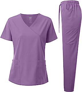 Dagacci Medical Uniform Women's 4-Way Stretch Fitted Y Neck Natural Scrub Set