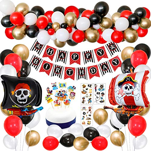 SPECOOL Decoraciones de Fiesta de cumpleaños Pirata con Pirata Tatuaje Temporal Banner Barco Pirata Globos de Barco para niños 1 ° 2 ° 3 ° 4 ° 5 ° 10 ° Suministros de cumpleaños temáticos de Piratas