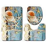 3pcs set di tappetini da bagno, 4tipi Sea World super morbido tappetino da doccia ad asciugatura rapida, piedistallo tappeto da bagno + coperchio WC cover + tappetino da bagno, 10, Taglia libera