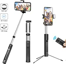 Selfie Stick Tripod, Brokuca 63 Inch Extendable Selfie Stick Monopod with Bluetooth Remote & Selfie Light, Compatible with iPhone Xs max/XS/XR/X/8/8 plus/7/7 plus/6s,Galaxy S10/S9/8 and More