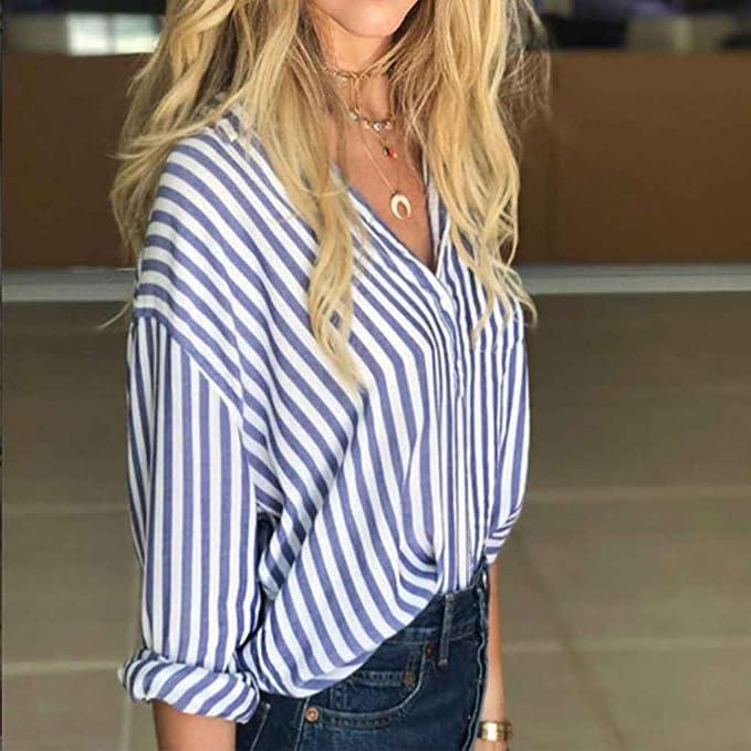 Chilie Camisa de rayas azules y blancas para mujer Camisa de ...