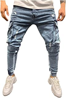 Tomcia Men's Fashion Denim Pencil Pants Ripped Style Zipper Button Solid Color Cargo Pocket Boys Casual Trousers