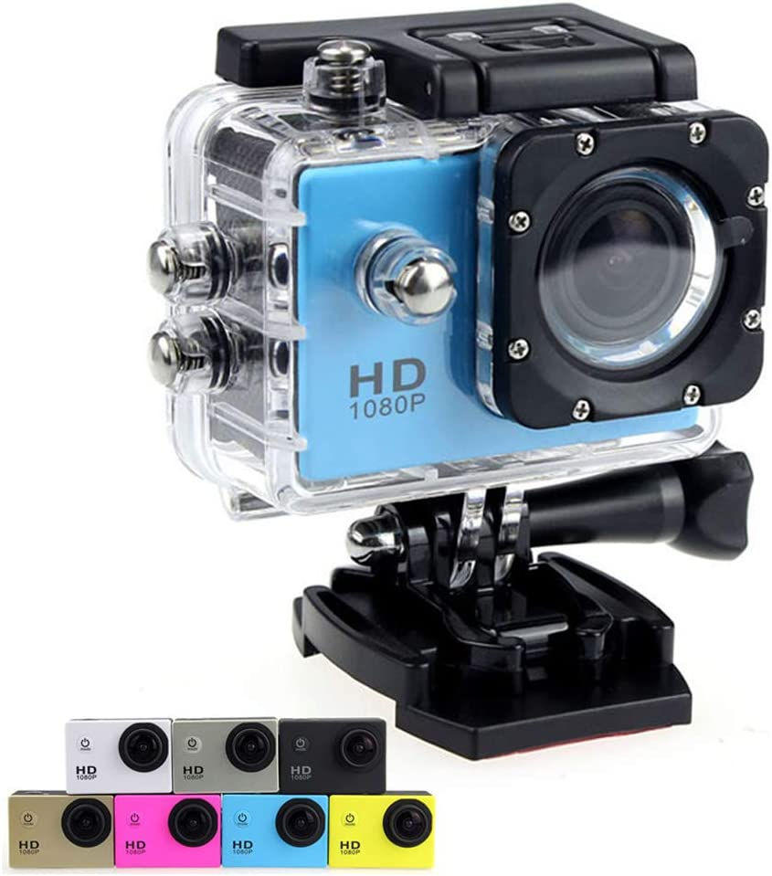 Original SJ4000 Sport Action Camera 1080P 12MP HD Waterproof DV Camcorder 170°Wide Angle 2-inch LCD Screen 1050mAh Rechargeable Battery 11 Free Installation Accessories Kit (Blue)