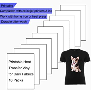 Printable Heat Transfer Vinyl Paper for Inkjet Printers, Iron-On Dark T-Shirt Fabric HTV Transfers A4 Size, Pack Of 10 Sheets