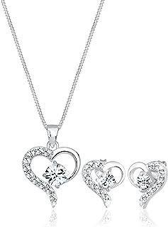 Elli Women 925 Sterling Silver Hearts Swarovski® Crystals Jewelry Set