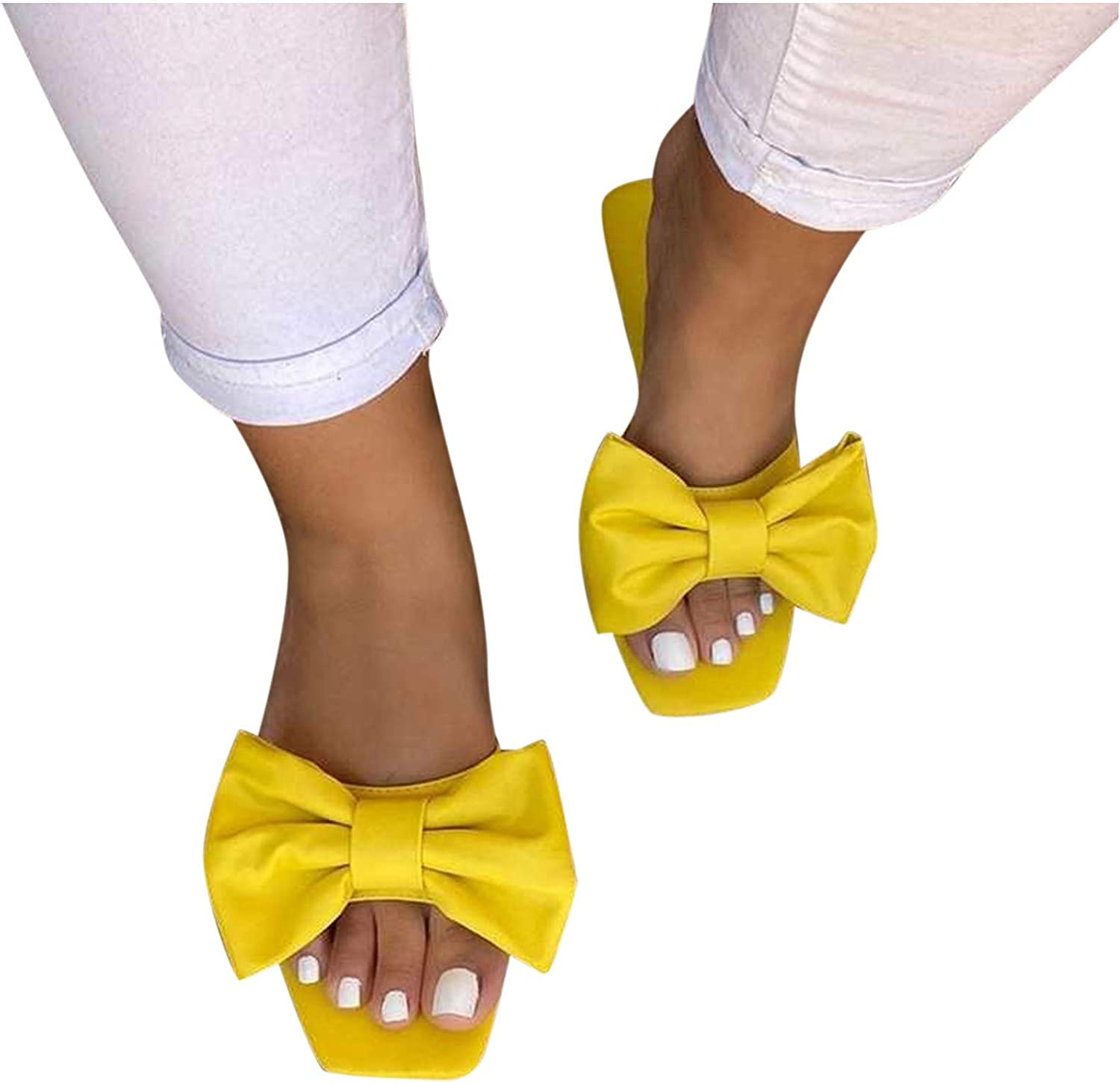 Xudanell Womens Max 65% OFF Sandals Square Toe Slides Slip Flat Special sale item Bow Flatform