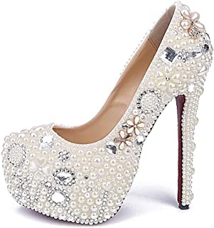 Women's High Heels Wedding Shoes, Fine Heel 16 cm Pearl Rhinestone Flowers Shallow Mouth Platform High Heels Comfortable Non-Abrasive Feet for Banquet Wedding Wear