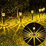 Outdoor Solar Pathway Lights 6Pack,IP67 Waterproof Solar Lights Outdoor Garden Landscape Decorative,LED Solar Powered Path Lights for Walkway Yard Lawn Driveway Backyard Patio Lighting(Warm White)
